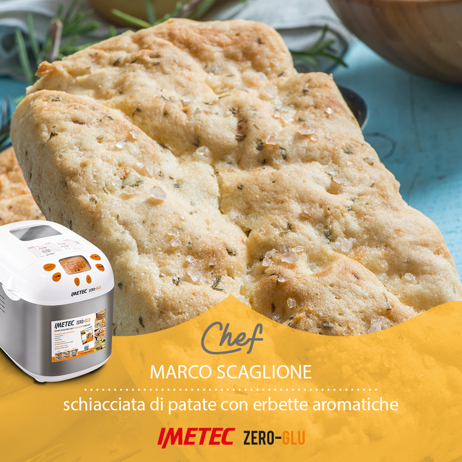 Gluten-free potato mashed with aromatic herbs for the Imetec Zero Glu bread machine